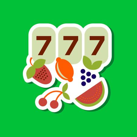 paper sticker on stylish background jackpot Lucky seven Illustration