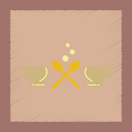 flat shading style icon coffee cups Иллюстрация