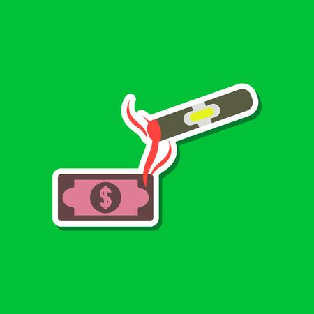 paper sticker on stylish background poker cigar dollar
