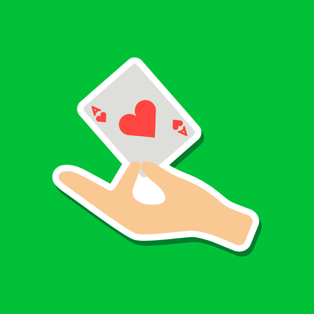 paper sticker on stylish background hand playing cards Çizim