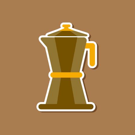 paper sticker on stylish background coffee machine maker