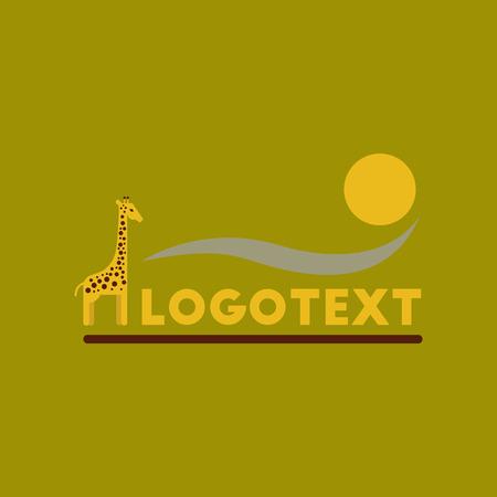 Flat icon on background giraffe logo Illustration
