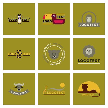 assembly flat icons nature logo bear lion giraffe penguin snake monkey bird bull Stock Vector - 84828210