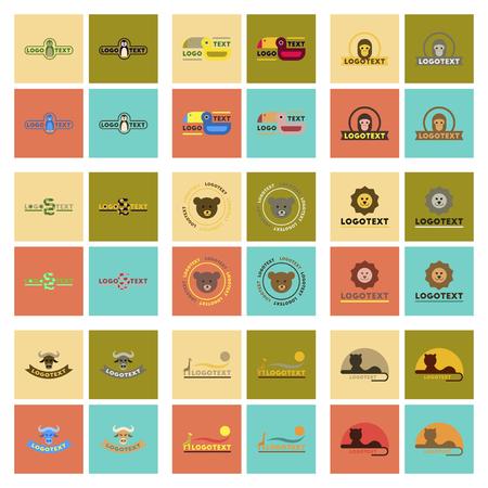 Assembly flat icons nature logo bear, lion, giraffe, penguin, snake, monkey, bird, bull Illustration