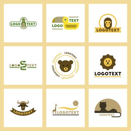 Assembly flat icons nature logo bear, lion, giraffe, penguin, snake, monkey, bird, bull Stock Vector - 84828460