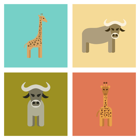 Assembly flat icons nature giraffe, bull