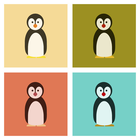 antarctic: Assembly flat icons nature Emperor penguins vector illustration.