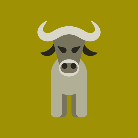 Flat icon stylish background cartoon bull vector illustration. Illustration