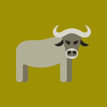Flat icon stylish background cartoon bull 向量圖像