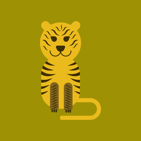 Flat icon on background cartoon tiger vector illustration.