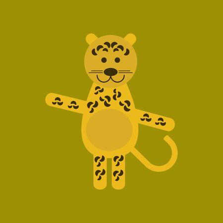 Flat icon on background cartoon leopard vector illustration. Çizim