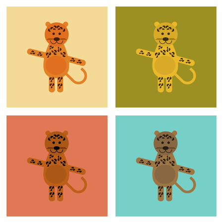 Assembly flat icons nature cartoon leopard vector illustration.