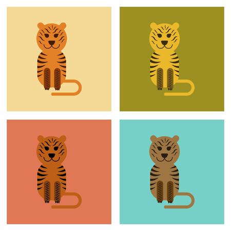 Assembly flat icons nature cartoon tiger vector illustration. Illustration