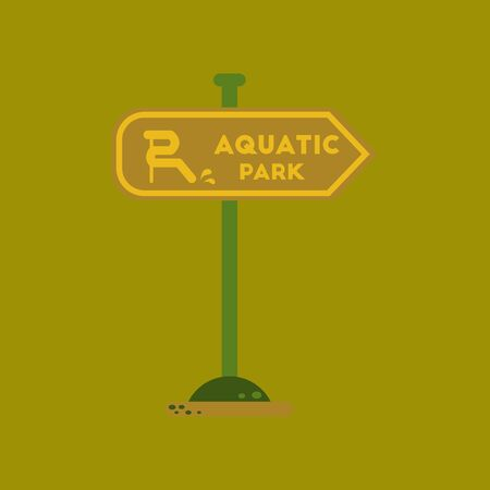 Flat icon on background sign aquatic park vector illustration.
