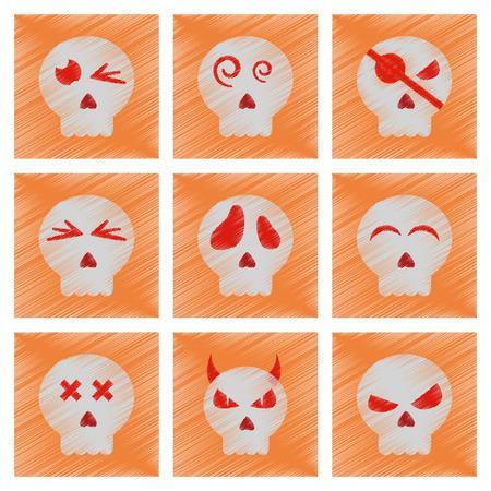 assembly flat shading style icons halloween emotion skull Illustration