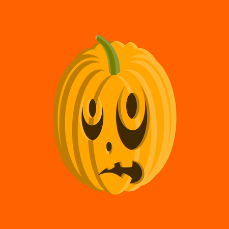 flat illustration on background of Halloween pumpkin emotions