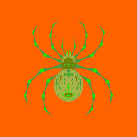 flat illustration on background of halloween spider