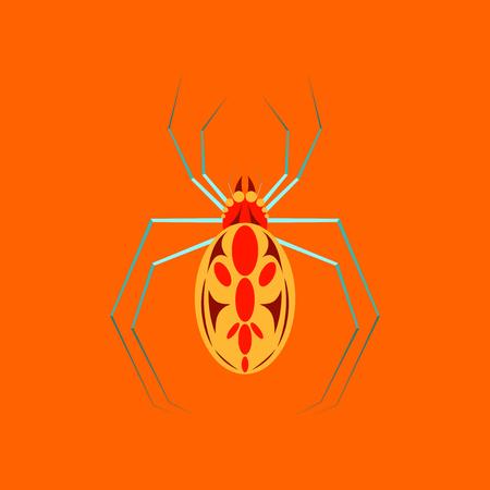 Platte illustratie op de achtergrond van Halloween spider