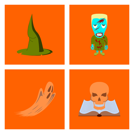 assembly flat illustration witch hat monster ghost book skull