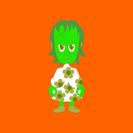 flat illustration on background of zombie woman