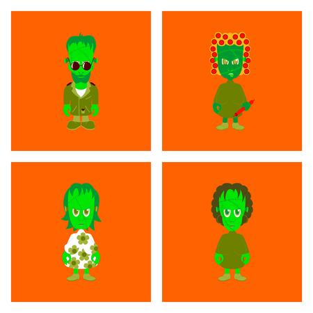 assembly flat illustration zombie family