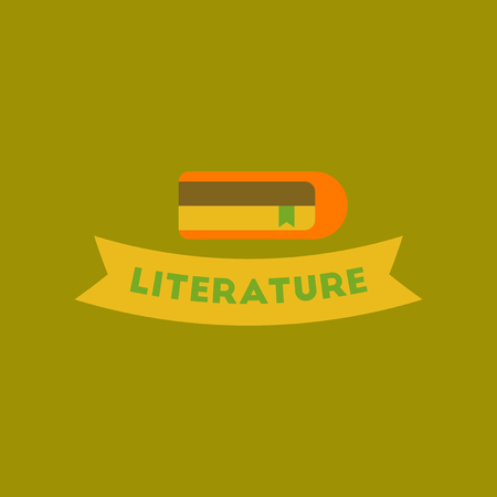 flat icon on background Literature lesson
