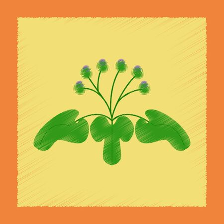flat shading style Illustrations plant Arctium Иллюстрация