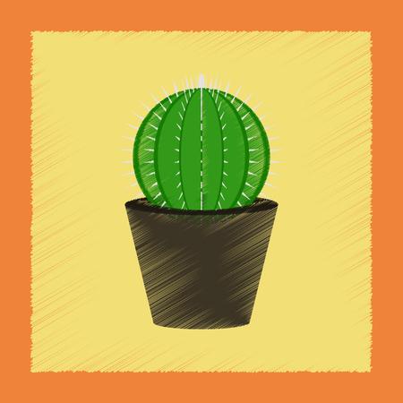 평면 음영 스타일 일러스트 식물 Cactoideae