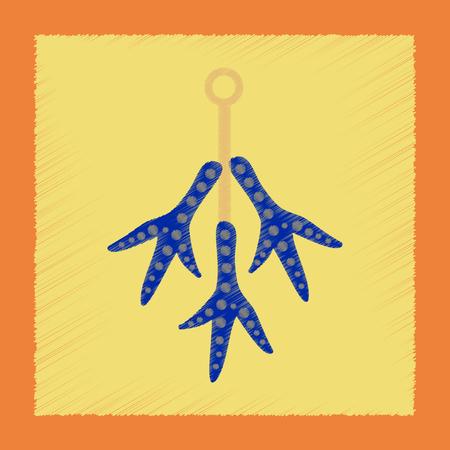 flat shading style icon halloween chicken feet Ilustrace