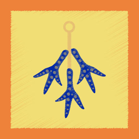 flat shading style icon halloween chicken feet Illustration