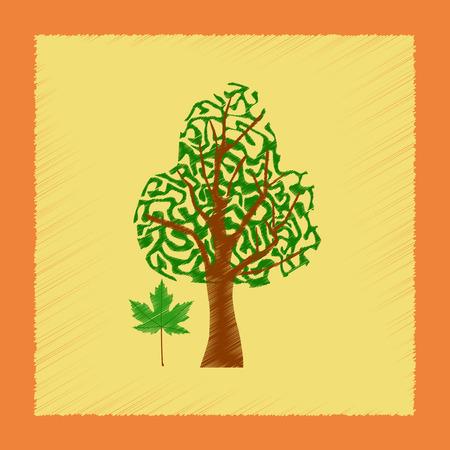 Flat shading style illustrations plant Acer Ilustração