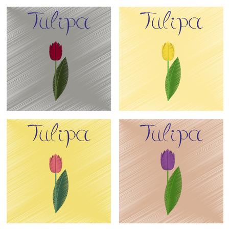 Assembly flat shading style illustrations plant Tulipa