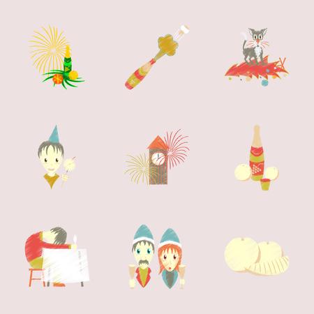 Montage flache Schattierung Stil Icon Weihnachtsfeier Standard-Bild - 85537529