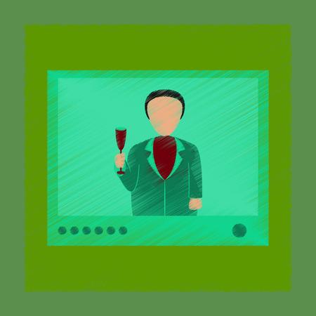 communication cartoon: flat shading style icon President on TV