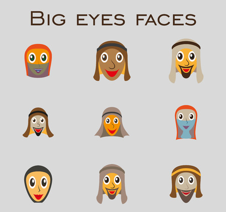 Set of icons of Arabs with big eyes . flat faces
