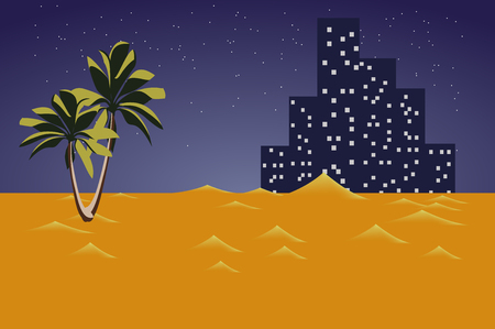 city background: city in the desert . lights of the night city . United Arab Emirates in flat design