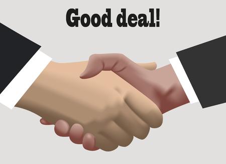 Handshake in realistic design . good deal Illustration
