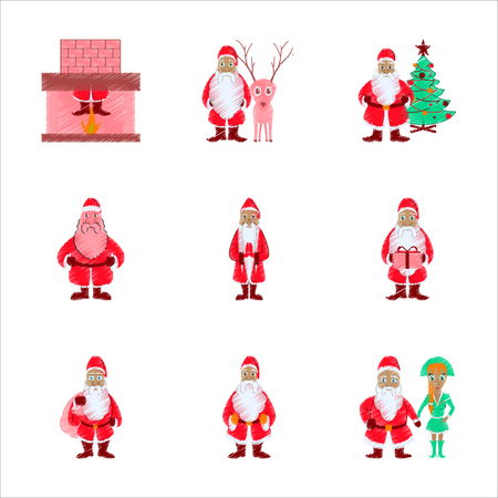 assembly flat shading style illustration Santa Claus