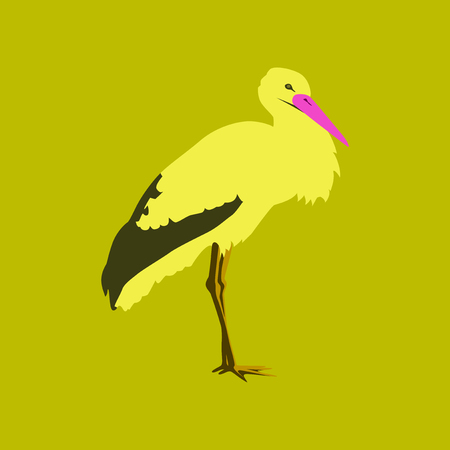 Vector illustration in flat style of a stork
