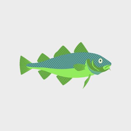 Vector illustratie in platte stijl van een kabeljauw Stock Illustratie