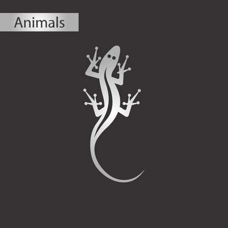 Black and white style icon of a lizard