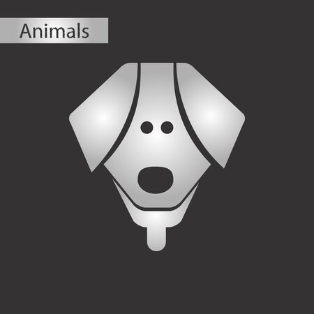 Black and white style icon of a dog Illustration