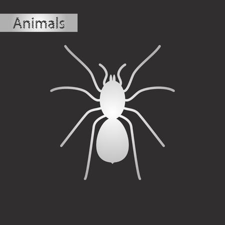 Black and white style icon of a tarantula