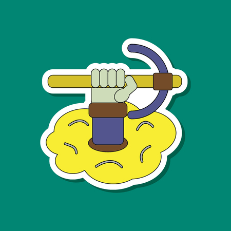 Paper sticker of hammer in hand in an avalanche