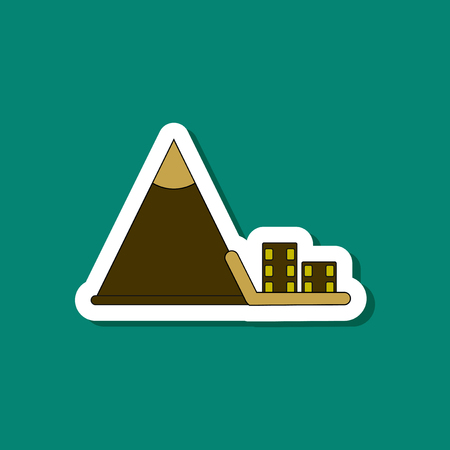 paper sticker on stylish background snow avalanche house