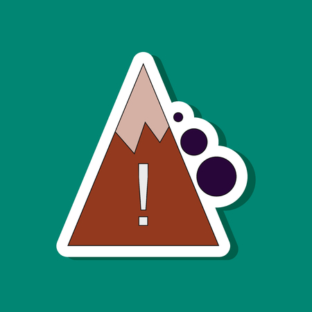 Paper sticker of a Mountain and stones falling