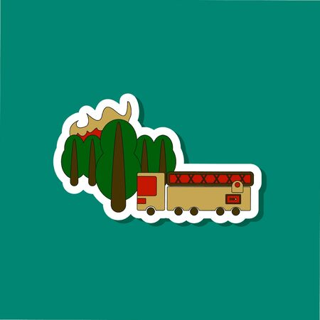 Paper sticker of a Forest fire and a truck Illustration