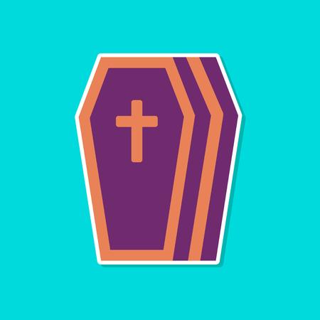 paper sticker on stylish background halloween coffin Ilustração