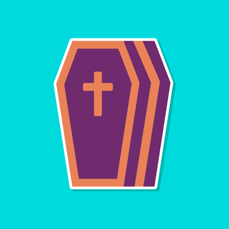 paper sticker on stylish background halloween coffin Illustration