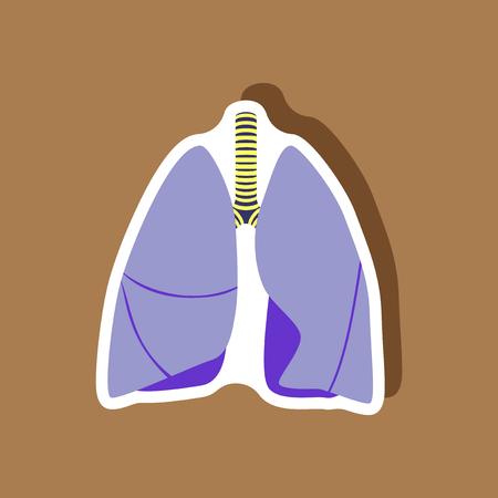 Lungs and trachea paper sticker Illustration